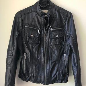 100% LEATHER michael kors motorcycle jacket